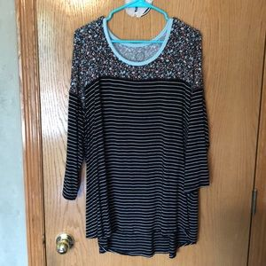 Maurices Stripes and Floral Top